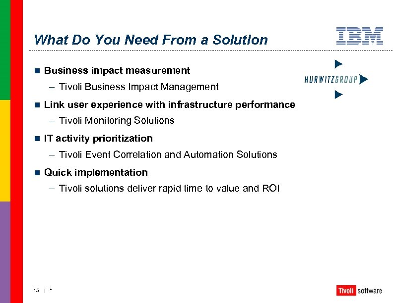 What Do You Need From a Solution n Business impact measurement – Tivoli Business