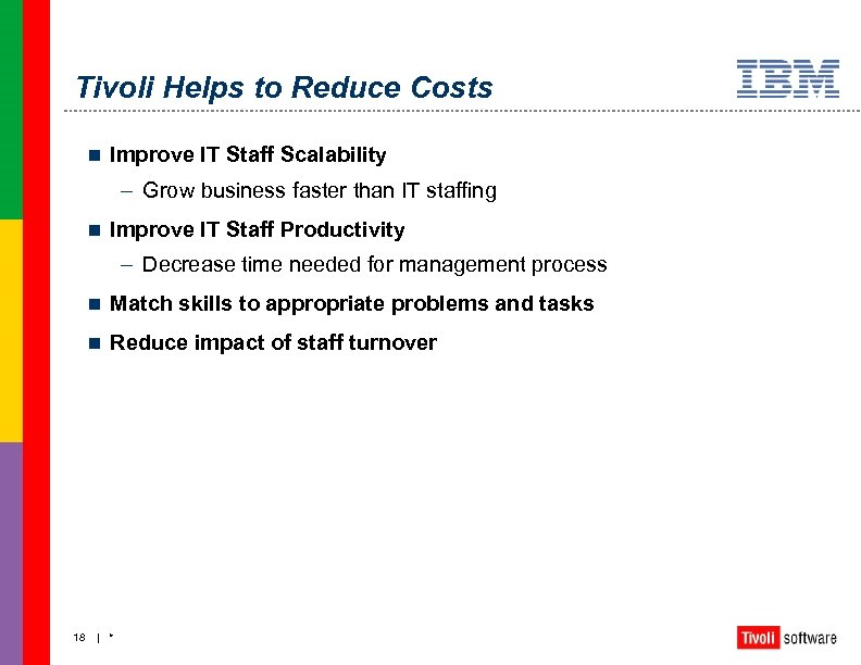 Tivoli Helps to Reduce Costs n Improve IT Staff Scalability – Grow business faster