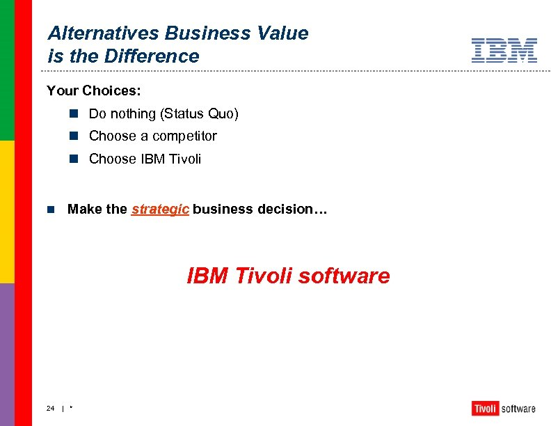 Alternatives Business Value is the Difference Your Choices: n Do nothing (Status Quo) n