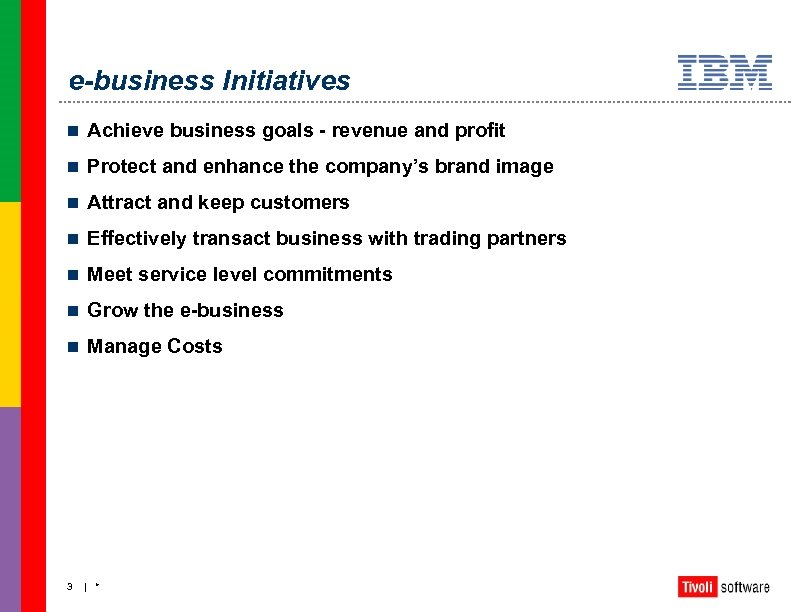 e-business Initiatives n Achieve business goals - revenue and profit n Protect and enhance