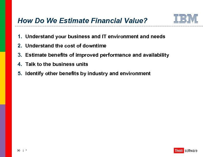 How Do We Estimate Financial Value? 1. Understand your business and IT environment and