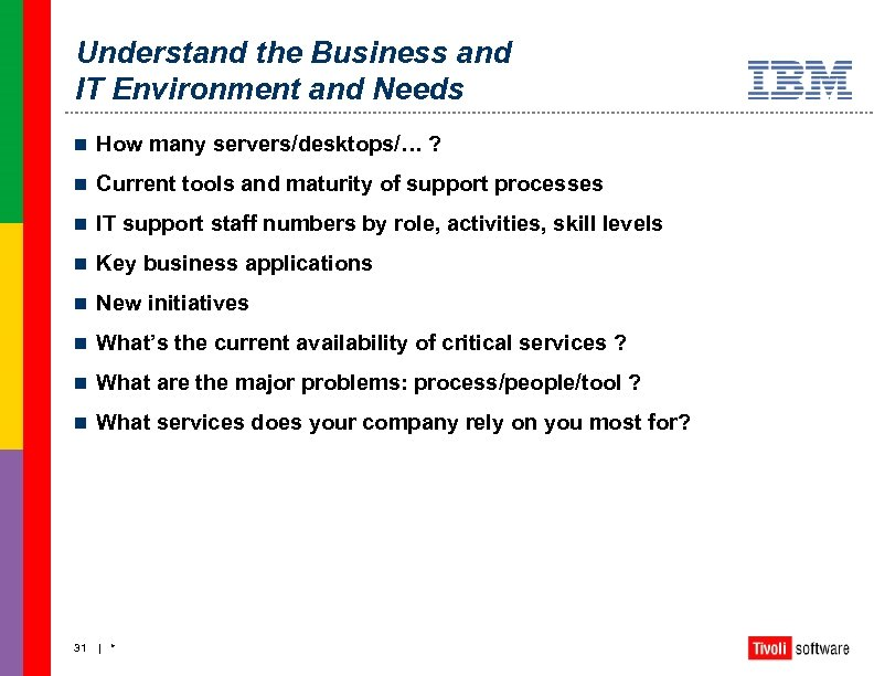 Understand the Business and IT Environment and Needs n How many servers/desktops/… ? n