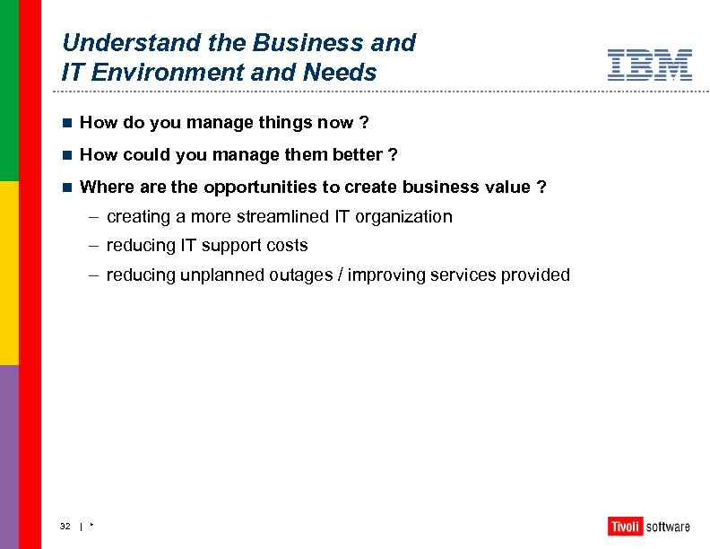 Understand the Business and IT Environment and Needs n How do you manage things