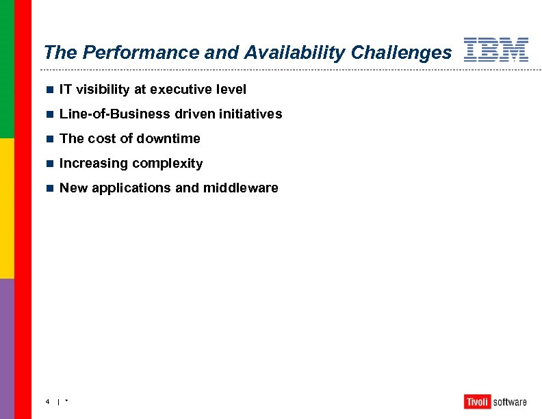 The Performance and Availability Challenges n IT visibility at executive level n Line-of-Business driven