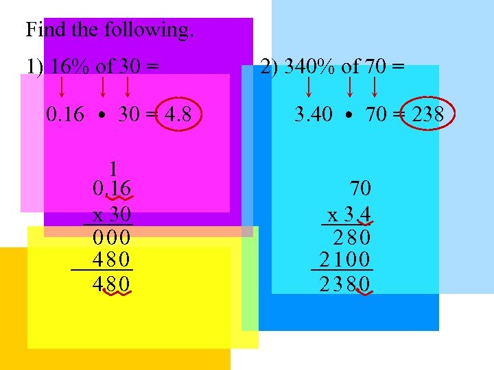 Find the following. 1) 16% of 30 = 0. 16 30 = 4. 8
