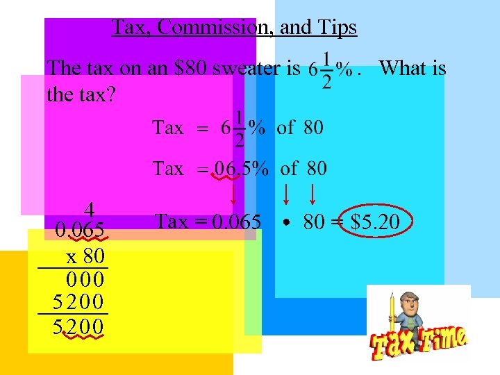 Tax, Commission, and Tips The tax on an $80 sweater is the tax? 4