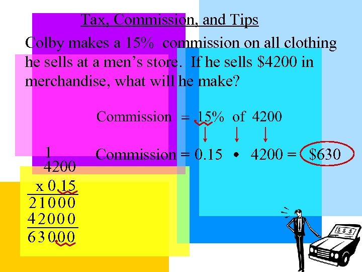 Tax, Commission, and Tips Colby makes a 15% commission on all clothing he sells