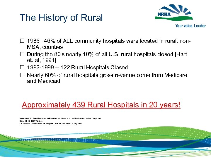 The History of Rural 1986 46% of ALL community hospitals were located in rural,