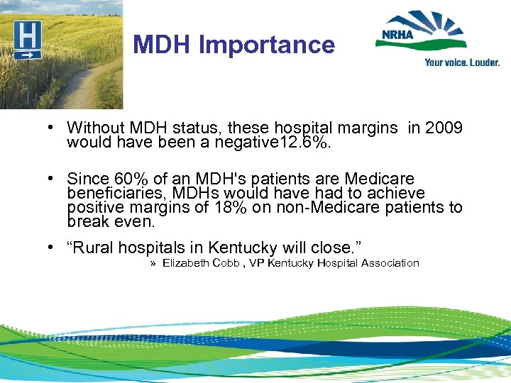 MDH Importance • Without MDH status, these hospital margins in 2009 would have been