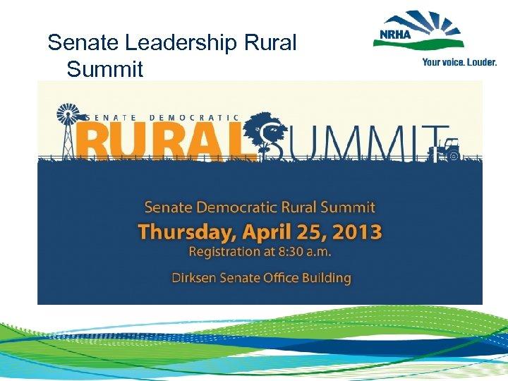 Senate Leadership Rural Summit