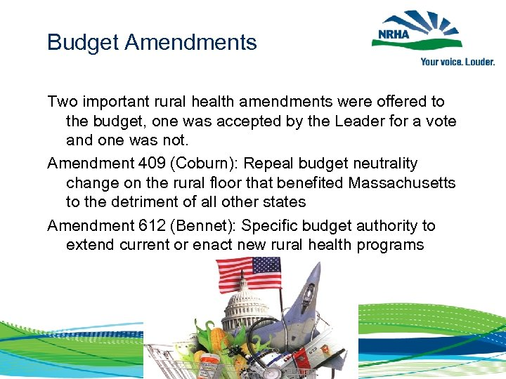 Budget Amendments Two important rural health amendments were offered to the budget, one was