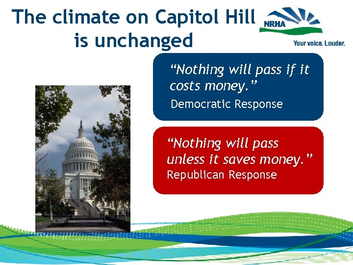 """The climate on Capitol Hill is unchanged """"Nothing will pass if it costs money."""