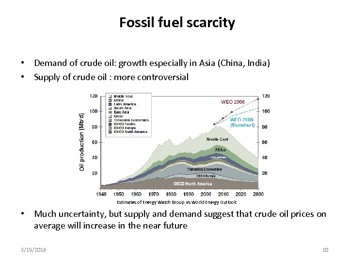 Fossil fuel scarcity • Demand of crude oil: growth especially in Asia (China, India)