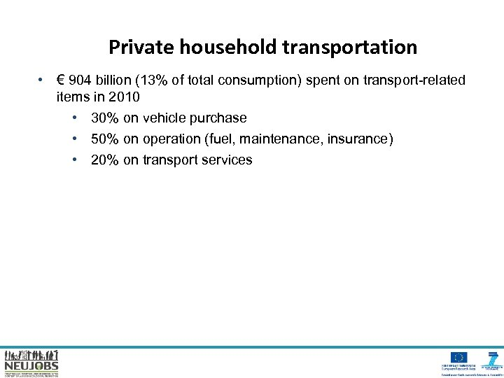 Private household transportation • € 904 billion (13% of total consumption) spent on transport-related