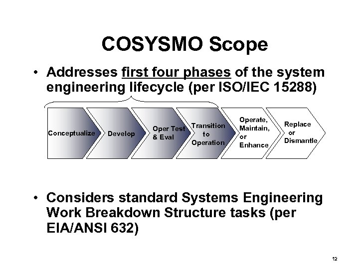 COSYSMO Scope • Addresses first four phases of the system engineering lifecycle (per ISO/IEC