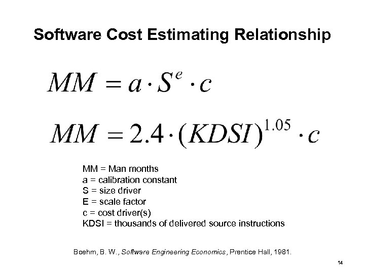 Software Cost Estimating Relationship MM = Man months a = calibration constant S =