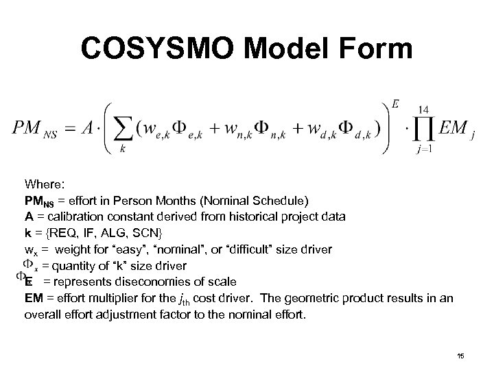 COSYSMO Model Form Where: PMNS = effort in Person Months (Nominal Schedule) A =