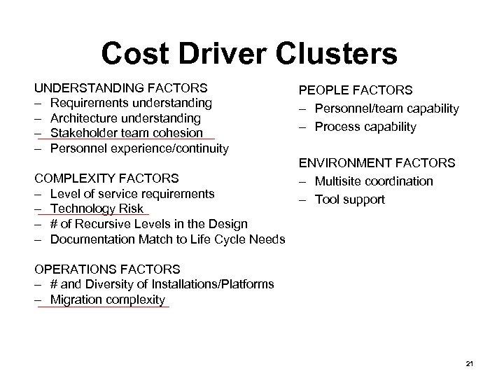 Cost Driver Clusters UNDERSTANDING FACTORS – Requirements understanding – Architecture understanding – Stakeholder team