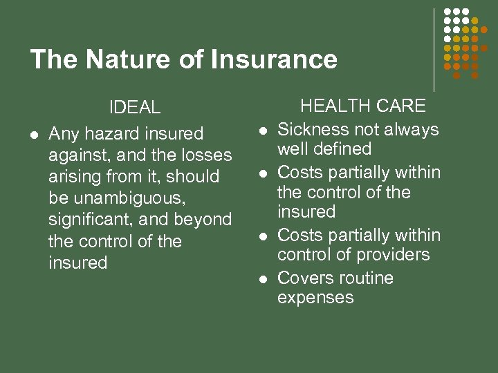 The Nature of Insurance l IDEAL Any hazard insured against, and the losses arising