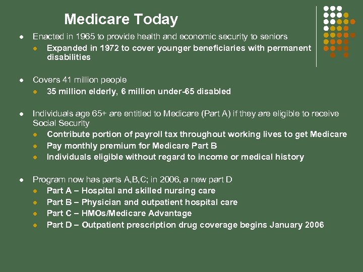 Medicare Today l Enacted in 1965 to provide health and economic security to seniors