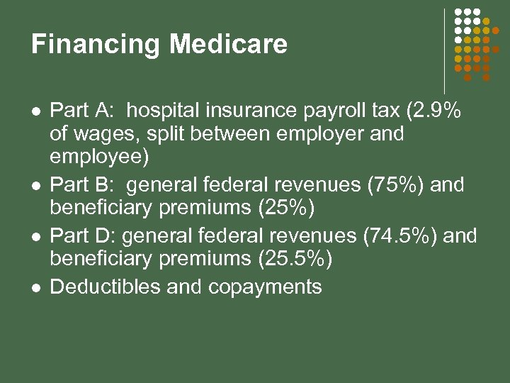 Financing Medicare l l Part A: hospital insurance payroll tax (2. 9% of wages,