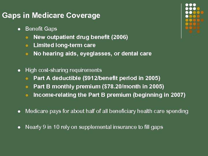 Gaps in Medicare Coverage l Benefit Gaps l l New outpatient drug benefit (2006)