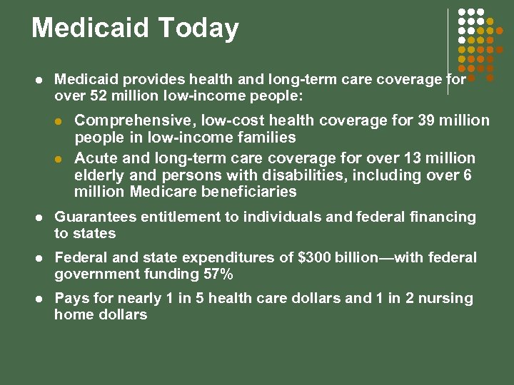 Medicaid Today l Medicaid provides health and long-term care coverage for over 52 million