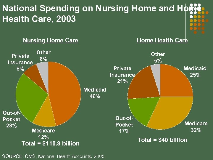 National Spending on Nursing Home and Home Health Care, 2003 Nursing Home Care Private