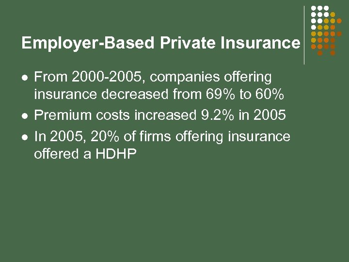 Employer-Based Private Insurance l l l From 2000 -2005, companies offering insurance decreased from