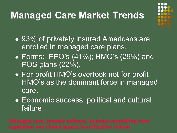 Managed Care Market Trends l l 93% of privately insured Americans are enrolled in
