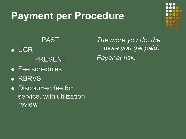 Payment per Procedure PAST l l UCR PRESENT Fee schedules RBRVS Discounted fee for