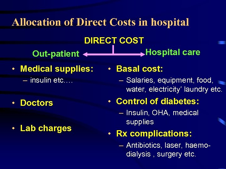 Allocation of Direct Costs in hospital DIRECT COST Out-patient • Medical supplies: – insulin