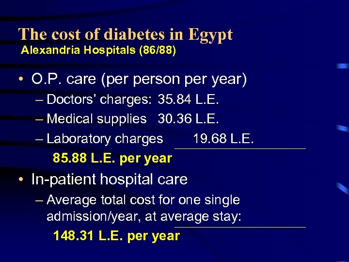 The cost of diabetes in Egypt Alexandria Hospitals (86/88) • O. P. care (per
