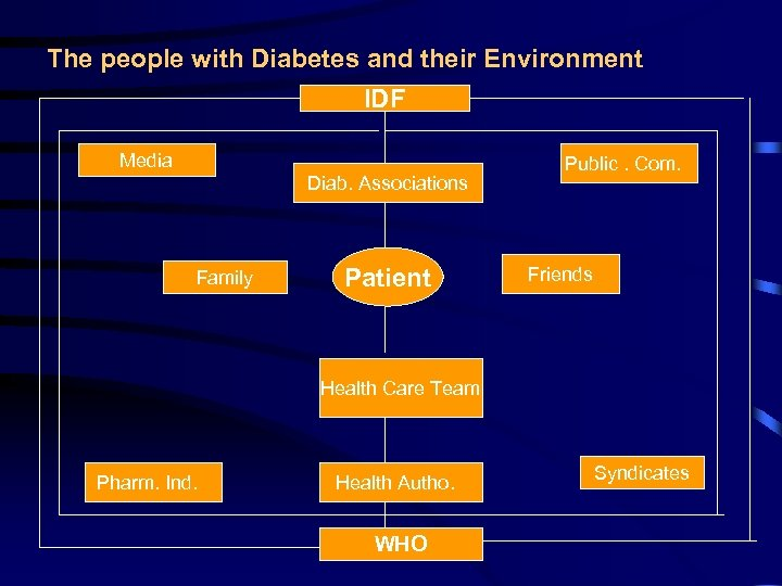 The people with Diabetes and their Environment IDF Media Diab. Associations Family Patient Public.