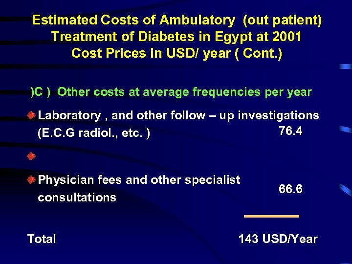Estimated Costs of Ambulatory (out patient) Treatment of Diabetes in Egypt at 2001 Cost