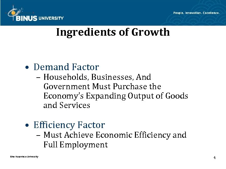 Ingredients of Growth • Demand Factor – Households, Businesses, And Government Must Purchase the