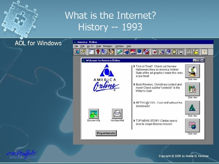 What is the Internet? History -- 1993 AOL for Windows Copyright © 2008 by