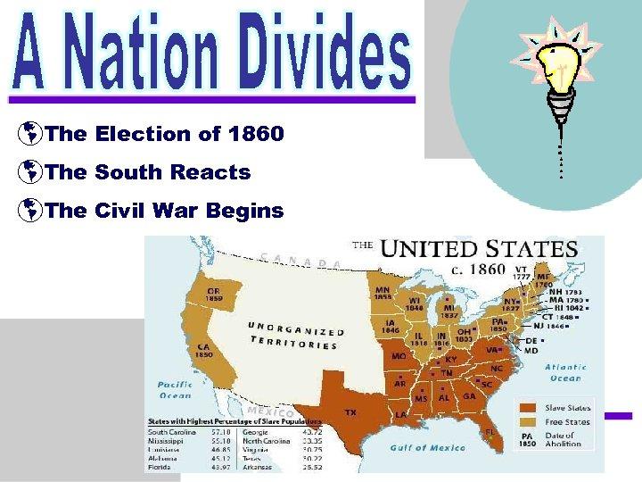 þThe Election of 1860 þThe South Reacts þThe Civil War Begins