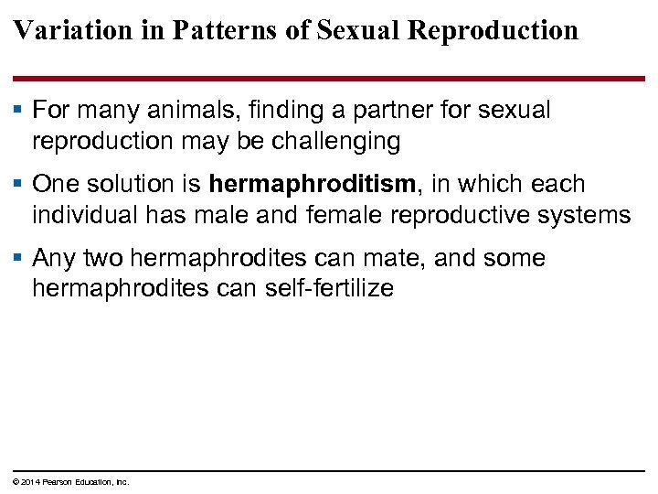 Variation in Patterns of Sexual Reproduction § For many animals, finding a partner for