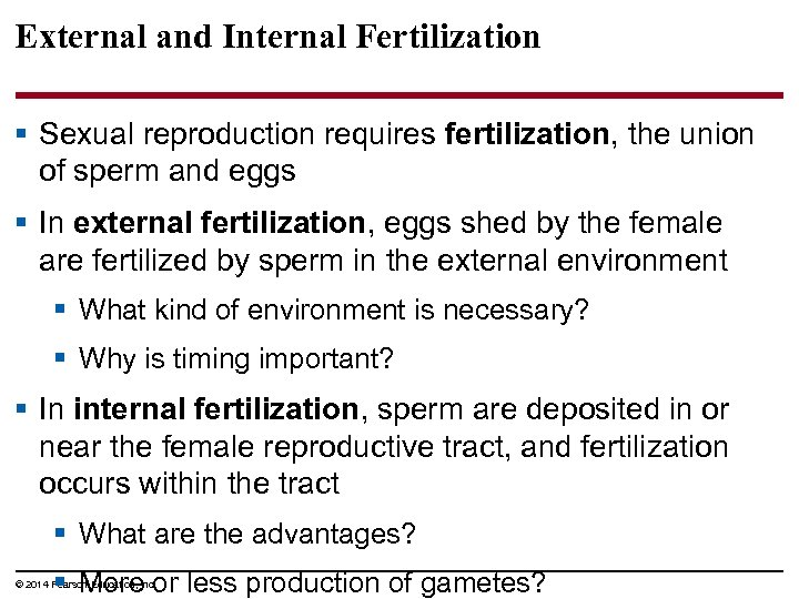 External and Internal Fertilization § Sexual reproduction requires fertilization, the union of sperm and