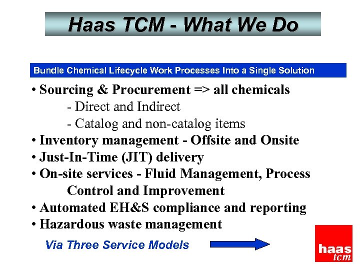 Haas TCM - What We Do Bundle Chemical Lifecycle Work Processes Into a Single
