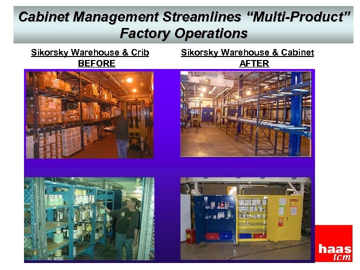 "Cabinet Management Streamlines ""Multi-Product"" Factory Operations Sikorsky Warehouse & Crib BEFORE Sikorsky Warehouse &"