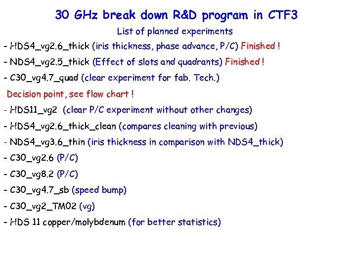 30 GHz break down R&D program in CTF 3 List of planned experiments -