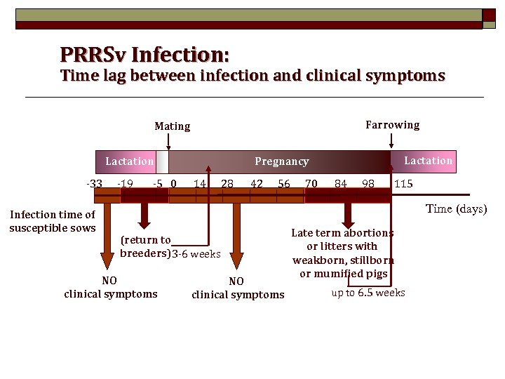 PRRSv Infection: Time lag between infection and clinical symptoms Farrowing Mating Lactation -33 Infection