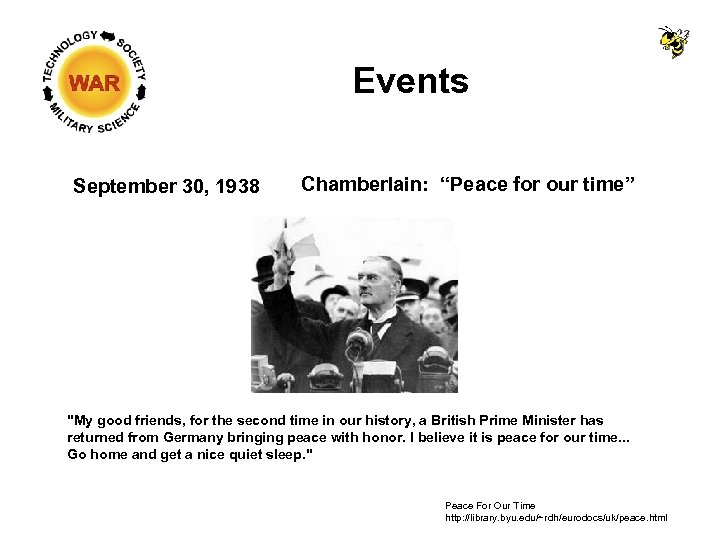 """Events September 30, 1938 Chamberlain: """"Peace for our time"""""""