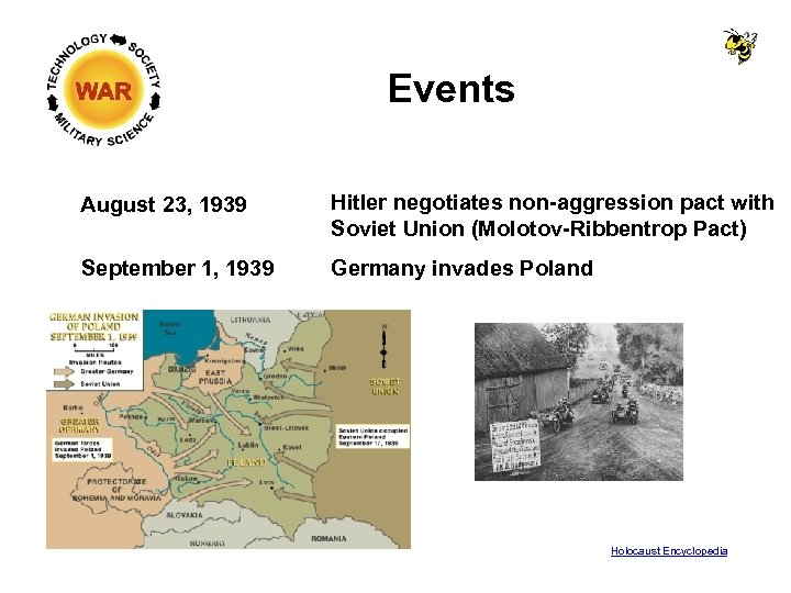 Events August 23, 1939 Hitler negotiates non-aggression pact with Soviet Union (Molotov-Ribbentrop Pact) September