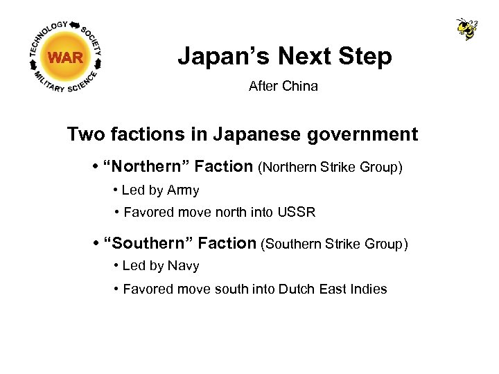 """Japan's Next Step After China Two factions in Japanese government • """"Northern"""" Faction (Northern"""