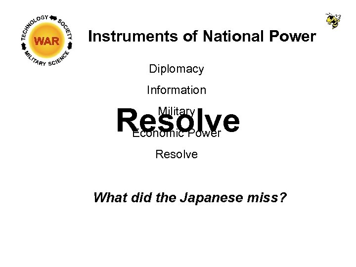 Instruments of National Power Diplomacy Information Resolve Military Economic Power Resolve What did the