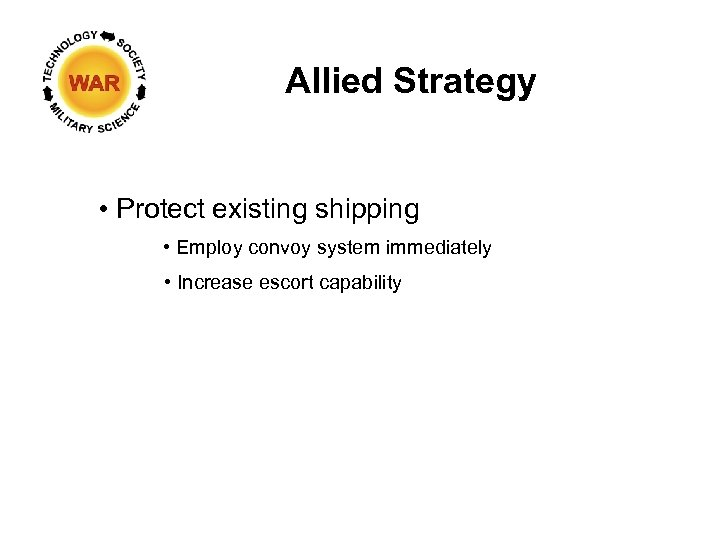 Allied Strategy • Protect existing shipping • Employ convoy system immediately • Increase escort