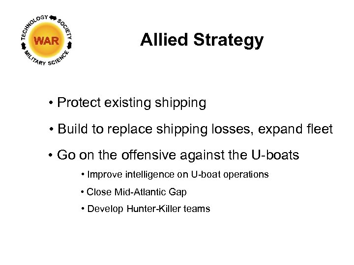 Allied Strategy • Protect existing shipping • Build to replace shipping losses, expand fleet
